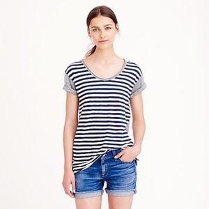 J.Crew Striped Colorblock VTG Scoop Neck T-Shirt